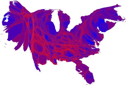 Blue=Democrats and Red =Republicans